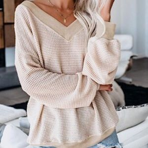 Sweaters - Cream V Neck Knit Sweater